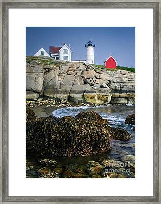 Nubble Lighthouse At Low Tide Framed Print by Scott Thorp