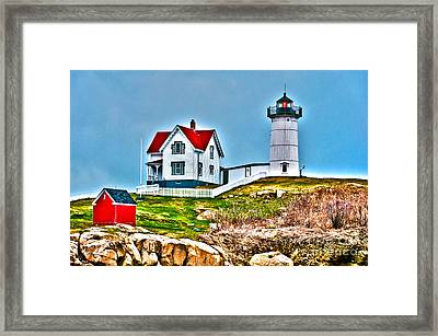 Nubble Lighthouse Cape Neddick Maine 2 Framed Print by Glenn Gordon