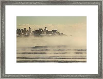 Nubble Lighthouse Cape Neddick Sea Smoke Framed Print by John Burk