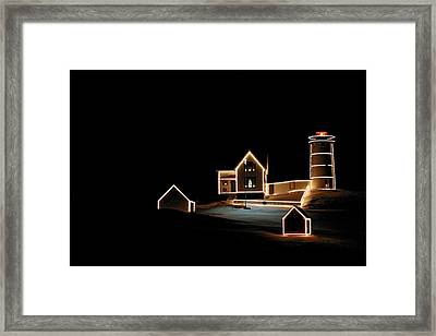 Nubble Lighthouse Christmas Lights Framed Print