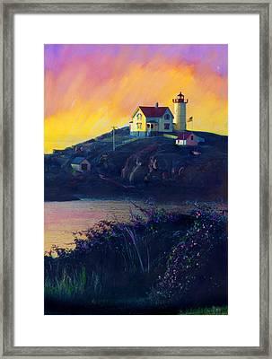Nubble Lighthouse Framed Print by Cindy McIntyre