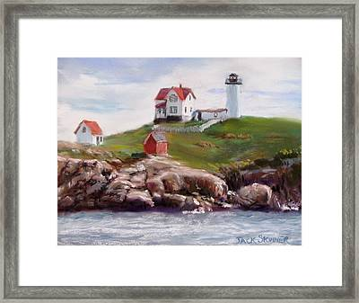 Nubble Lighthouse In Pastel Framed Print