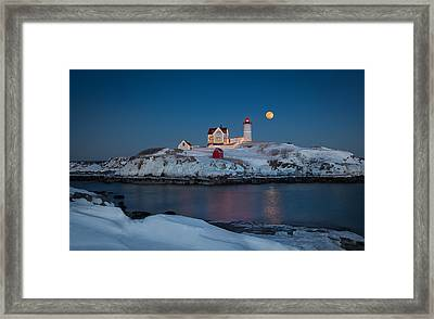 Nubble Lighthouse In Winter Framed Print by Betty Wiley