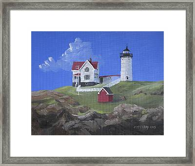 Nubble Lighthouse Framed Print by Jerry McElroy