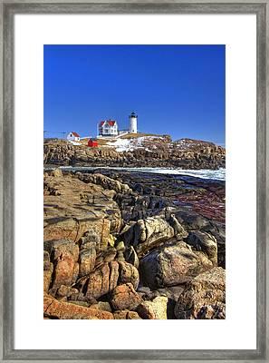 Nubble Lighthouse Framed Print by Joann Vitali