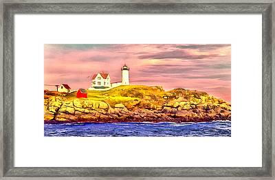 Nubble Lighthouse Framed Print by Kathryn Bailey