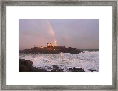 Nubble Lighthouse Rainbow And Surf At Sunset Framed Print by John Burk