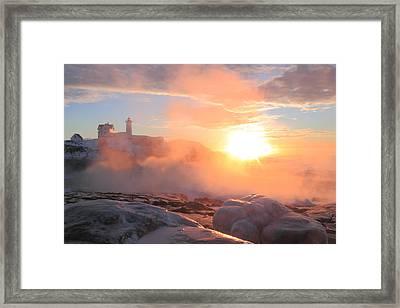 Nubble Lighthouse Sea Smoke Sunrise Fog Framed Print by John Burk