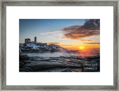 Nubble Lighthouse Sea Smoke Sunrise Framed Print by Scott Thorp