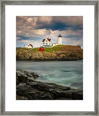 Framed Print featuring the photograph Nubble Lighthouse by Steve Zimic