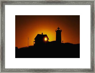 Nubble Lighthouse Sunrise Starburst Framed Print by Scott Thorp