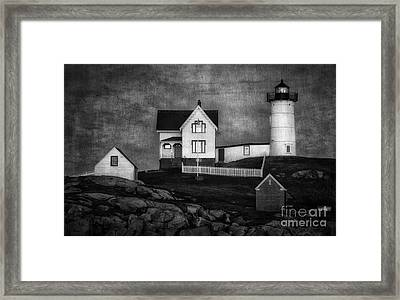 Nubble Lighthouse Texture Bw Framed Print by Jerry Fornarotto