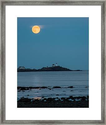 Nubble Lighthouse Under Full Moon Framed Print by Jeff Folger