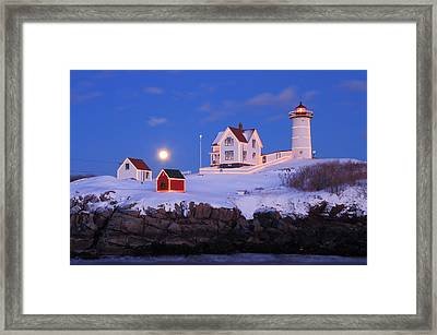 Nubble Lighthouse Winter Moon Framed Print by John Burk