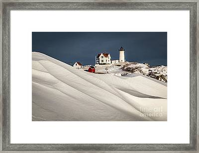 Nubble Snow Drift Framed Print by Benjamin Williamson