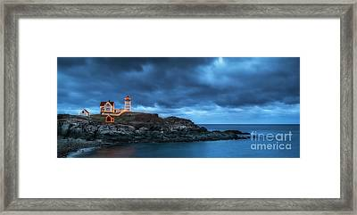 Nubble Lighthouse Before The Storm Framed Print by Scott Thorp