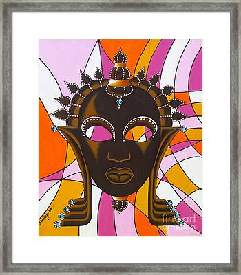 Nubian Modern Mask With Pink Framed Print by Joseph Sonday