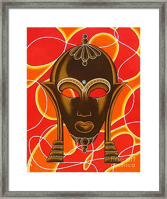 Nubian Modern Mask With Red And Orange Framed Print