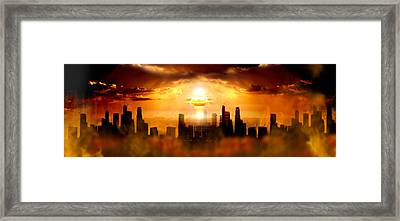 Nuclear Blast Behind City Framed Print by Panoramic Images
