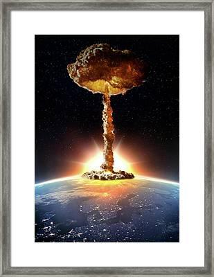 Nuclear Bomb Explosion Framed Print by Andrzej Wojcicki