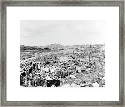 Nuclear Destruction At Nagasaki Framed Print by Us Navy