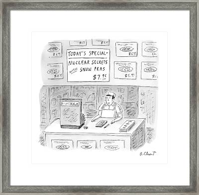 'nuclear Secrets With Snow Peas' Framed Print by Roz Chast