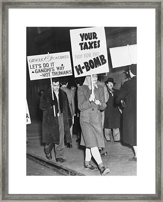 Nuclear Weapon Protest Framed Print by Fred Palumbo