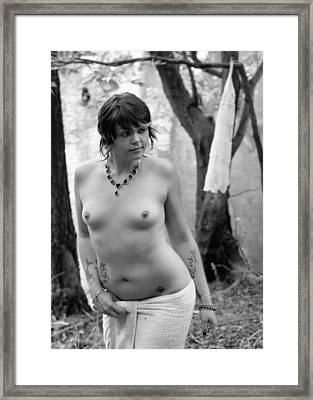 Nude Bather Outdoors Framed Print by Charles Oscar
