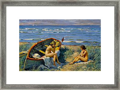 Nude Bathers With A Boat Framed Print by Paul Gustav Fischer