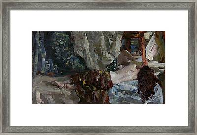 Nude Before The Mirror Framed Print by Korobkin Anatoly