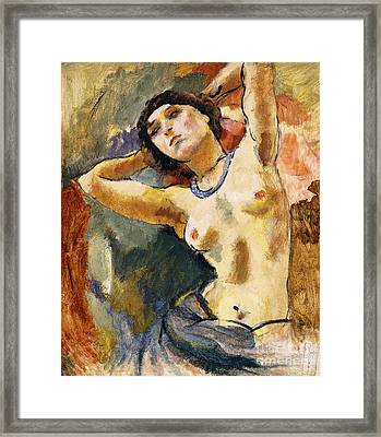 Nude Brunette With Blue Necklace Nu La Brune Au Collier Bleu Framed Print