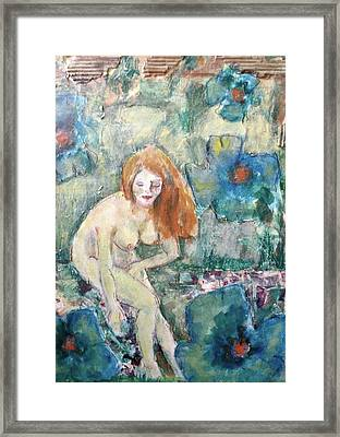 Nude Fairy Among Blue Poppies Framed Print