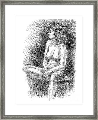 Framed Print featuring the drawing Nude Female Sketches 2 by Gordon Punt