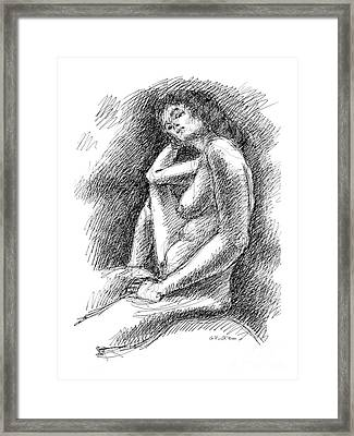 Framed Print featuring the drawing Nude Female Sketches 3 by Gordon Punt