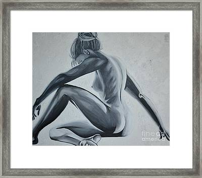 Nude Female - Snowstorm Framed Print by Holly Donohoe