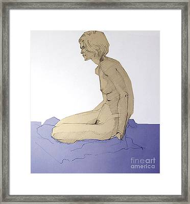 Framed Print featuring the drawing Nude Figure In Blue by Greta Corens