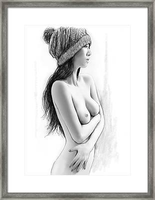 Nude Girl Drawing Art Sketch - 1 Framed Print by Kim Wang