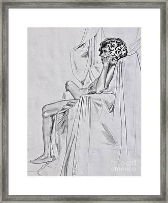 Nude In A Draped Chair Framed Print