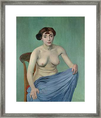 Nude In Blue Fabric, 1912 Framed Print by Felix Edouard Vallotton