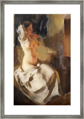 Nude In Fire Light Framed Print by Anders Zorn