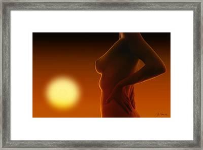 Nude In The Sunset Framed Print by Joe Bonita