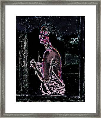 Nude In Window Man Ray Homage Framed Print by Brian King