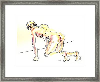Framed Print featuring the painting Nude Male Drawings 3w by Gordon Punt