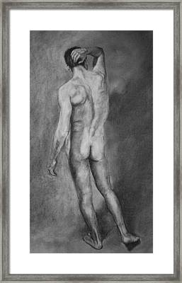 Framed Print featuring the drawing Nude Male by Rachel Hames