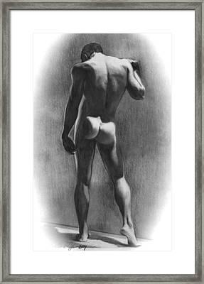 Nude Man In Contemplation Drawing Framed Print by Karon Melillo DeVega