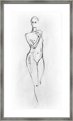 Nude Model Gesture Viii Framed Print by Irina Sztukowski