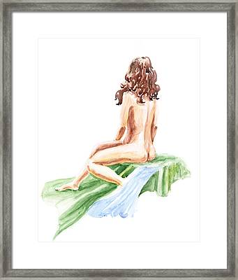 Nude Model Gesture Xii Blue River Framed Print by Irina Sztukowski