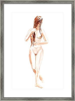 Nude Model Gesture Xiii Morning Flow Framed Print by Irina Sztukowski