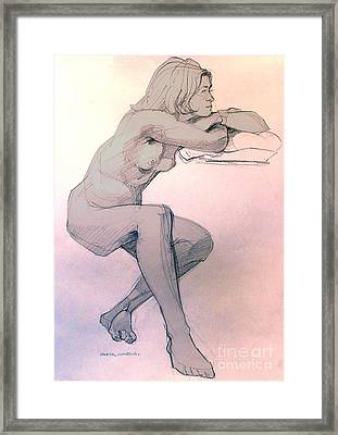 Nude Of A Dreamy Young Woman Framed Print