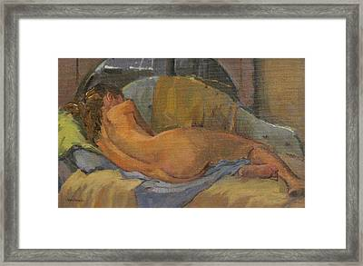 Nude On Chaise Longue Framed Print by Pat Maclaurin